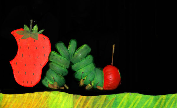 The Very Hungry Caterpillar at NC State LIVE on March 22, 2020. Photo by Mermaid Theatre of Nova Scotia.