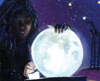 Close up of Dare Coulter's painting, a black woman sits and paints the moon.