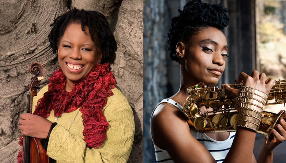 Jazz violinist Regina Carter and saxophonist Lakecia Benjamin with their instruments. Photo of Regina by Christopher Drukker. Photo of Lakecia by Elizabeth Leitzell.