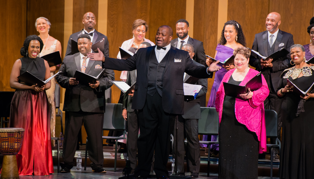 Singers from the American Spiritual Ensemble in concert. Photo by Henry Huhulag.